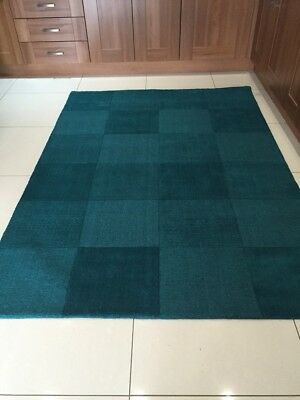 Oakland Teal Blue Wool Squares Rug in various sizes