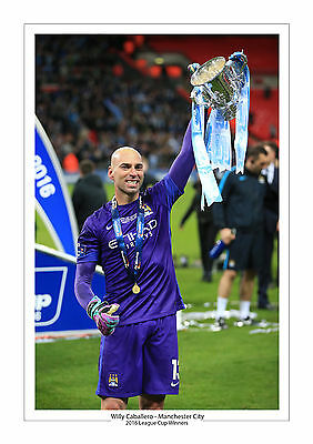 Trophy 2016 League Cup Manchester City A4 Print Photo Willy Caballero Man City