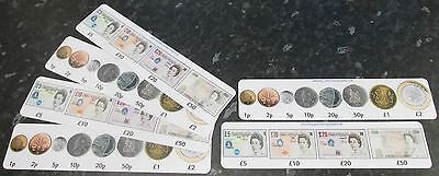 COLOUR Number line maths learning cards. Money Flash cards for values 1p - £50