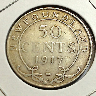 1917 Newfoundland Canada 50 Cents Sterling Silver Better Grade Coin