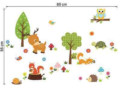 Removed Forest Animal Owl with Color Flower Children's Bedroom Wall Stickers