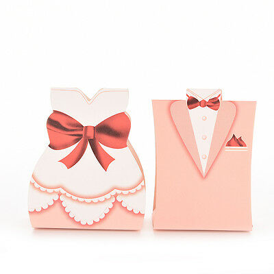 100Pcs Pink Bride Groom Tuxedo Dress Gown Wedding Favor Candy Boxes Gift