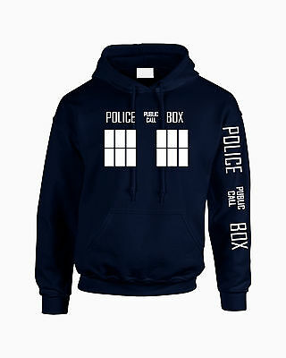 Premium Doctor Who Tardis Unisex Hoodie Inspired By The TV Show (Navy) Sleeve