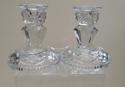 Vintage Cut Glass Candle Stick Holders