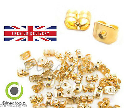 Gold Butterfly Earring Backs - Various Quantities - High Quality