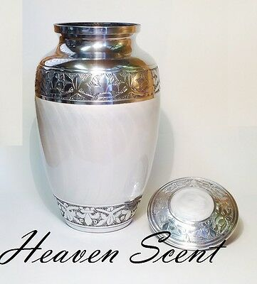 1451 White & Silver Adult Human Cremation Ashes Urn, Container Jar Full Size