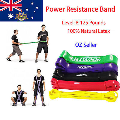 2.08m POWER Heavy Duty RESISTANCE BAND Gym Yoga LOOP Exercise Fitness Workout