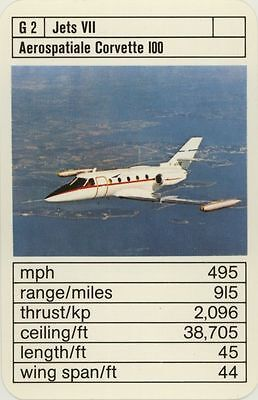 Single Vintage Game Card: Aerospatiale Corvette 100. Jet Aeroplane.