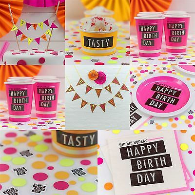 Girls Neon Happy Birthday Party Supplies Tableware Decorations Pink