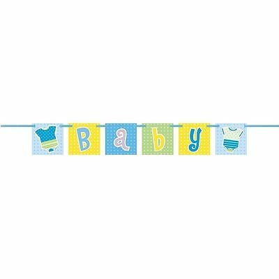 Baby Shower Blue Dots Banner - Boy Party Decoration Supplies