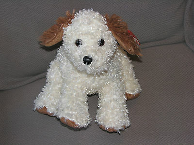 Ty Classic Tysilk Puppy Dog Beans Dinger Cream Ivory Brown Ears Tail Curly 2007