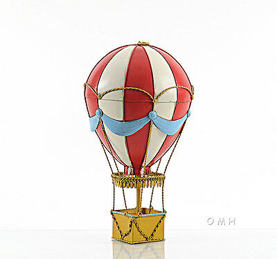 "Hot Air Balloon Model Red & White 14.5"" 3d Toy Metal Hanging Aviation Decor"