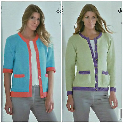 KNITTING PATTERN Ladies 3/4 & Long Sleeve Cardigan with Pockets DK KingCole 4165