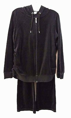 Maternity Motherhood Black Velour Velvet Track Suit Sweatpants Jacket Sz Medium