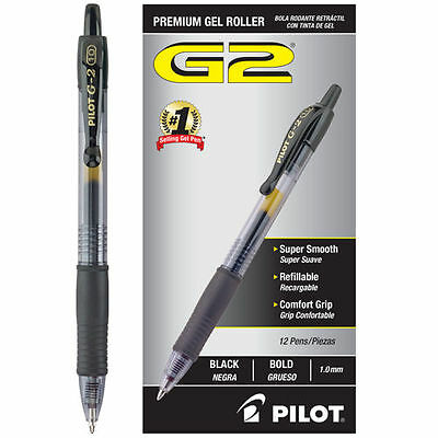 Pilot G2 Retractable Gel Rollerball Pen, 1.0mm Bold Point, Black, 12ct