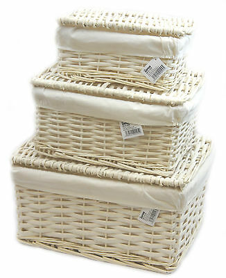 Wicker Storage Lidded Hamper Basket With White Lining In small,medium,Large