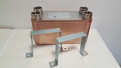 "NEW! 50 Plate Water to Water Brazed Plate Heat Exchanger 1""FPT PORTS W/Brackets"
