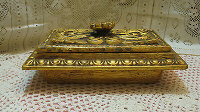 California Original Pottery Trinket Dresser Lidded Box #581Gold/Brown/Green