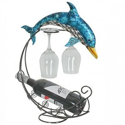 Blue And Silver Dolphin Metal Wine Rack Holds Bottle Of Wine & 2 Glasses