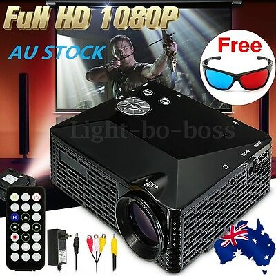 1080P HD Multimedia Projector LED Cinema Home Theater AV PC VGA HDMI USB HQ Mini
