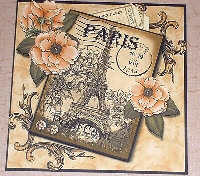 Handmade greeting card 3d all occasion with a vintage motorcycle handmade greeting card 3d all occasion vintage style paris postcard flowers m4hsunfo