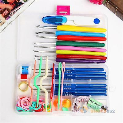 16 Sizes Knitting Tools Needle Yarn Crochet Hook Stitch Supplies Case Kit er#