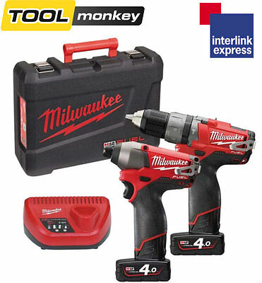 Milwaukee M12PP2A-402c 12v Fuel Hammer Drill and Impact Driver Twin Kit 4.0ah