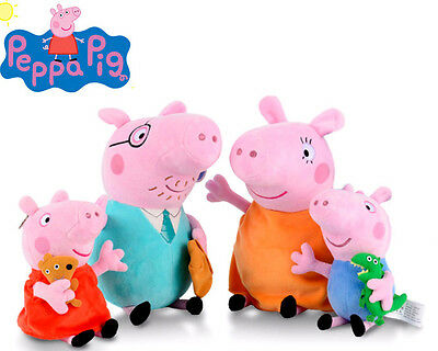 Set of 4 Peppa Pig George Daddy Mummy Pig Family Enfants Jeux Peluche Plush Doll