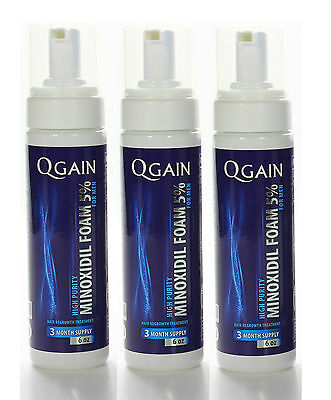 3 x QGAIN MINOXIDIL FOAM 5% 9 Months Supply in total