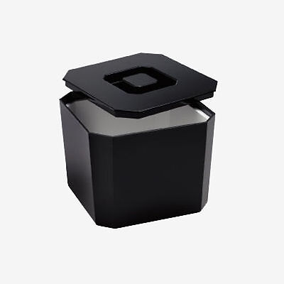 Square Black Ice Bucket + Ice Scoop or Tongs