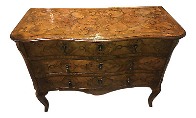 18Th Century Italian Scrolling Inlaid Olivewood Walnut Commode Dresser Chest