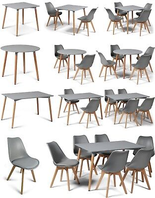Eiffel Style Grey Dining Sets Designer Tables & DSW ABS Dining Chairs Art Deco