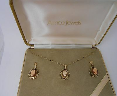 Vintage Lovely Amco Jewels 14K Overlay Cameo Set