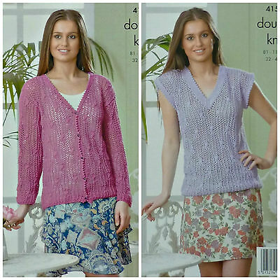 KNITTING PATTERN Ladies Lacy & Cable V-Neck Cardigan & Jumper DK King Cole 4159