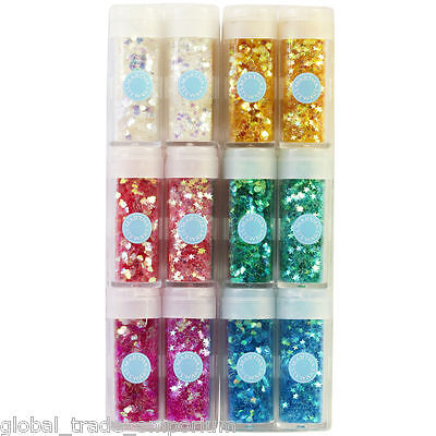 NEW Martha Stewart IRIDESCENT HEARTS & STARS GLITTER PACK - 12 VIALS - 6 Colours