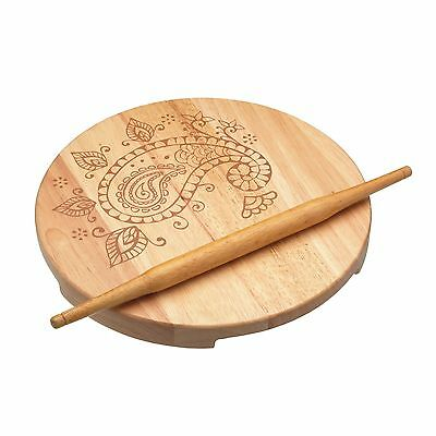 KitchenCraft New Wooden Indian Chapati Rolling Pin & Round  Pastry Board Set
