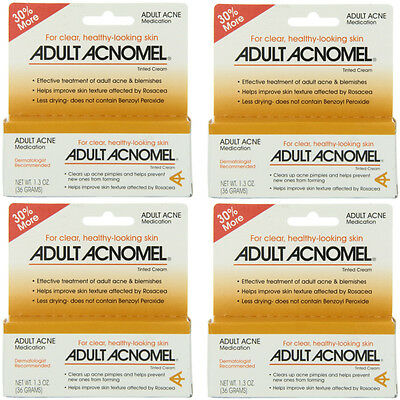 4 Pack Adult Acnomel Tinted Cream Acne Medication - 1.30 oz (36 g) Each