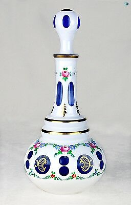 Tall Bohemian Hand Painted Glass W/ Gold Trim White Cut to Blue Decanter