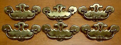 Used Brass Plated Swinging Handle Ornate Decorative Dresser Drawer Pull Lot Of 6