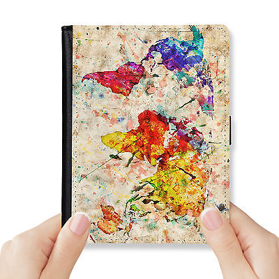 World Map Genuine Leather Rfid Blocking Passport Cover Wallet Organizer