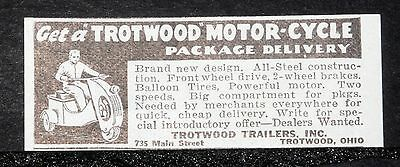 1939 Old Magazine Print Ad, Trotwood Trailers, Package Delivery Motor-Cycles!