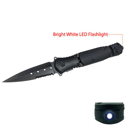 "9"" Black Tactical Survival LED Flashlight Spring Assisted Folding Pocket Knife"