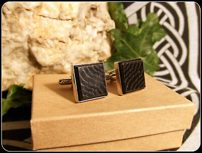 Square wooden cufflinks handcrafted in Irish Bog Oak Chrome plated gift boxed