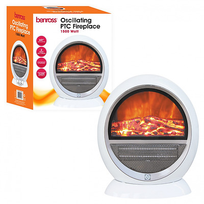 New Benross PTC Ceramic Oscillating Fireplace Flame Effect Heater, 1500 W, White