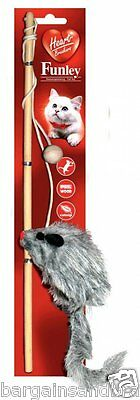 NEW Cat Toy Dangle Teaser Wand with Catnip & Plush Mouse 36cm