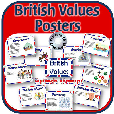 BRITISH VALUES POSTERS for KS1 KS2 on CD Primary Teaching Resources display