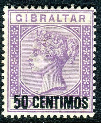 "GIBRALTAR-1889 50c on 6d Bright Lilac VARIETY ""S WITH SHORT FOOT"" LMM Sg 20a"