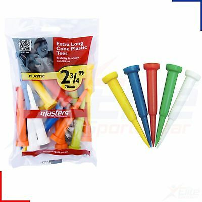 "Masters Plastic Extra Long 2 3/4"" (70mm) - 15, 30 or 45 Cone Golf Tees"