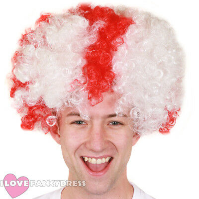 White Afro Wig Red Cross St Georges Day Fancy Dress England Football Supporter