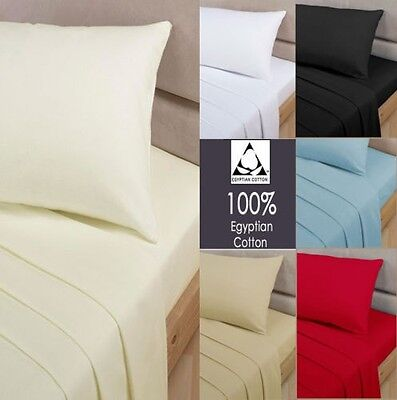100% Egyptian Cotton Fitted Sheets 200Tc Single 4Ft Small Double King Super Ki